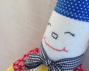 PLUSH GNOME DOLL--Garden Gnome--Cloth Gnome Doll--Summer Doll--Modern Doll--Red Yellow Blue Doll--Fabric Gnome--Whimsical-One of a Kind Doll