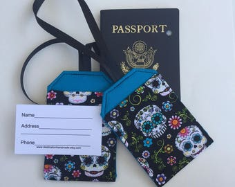 Luggage Tag Set, Sugar Skulls, Security Tags, Travel Accessory, Identification, stroller tags