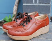 Vintage Famolare Brown Leather Platform Granny Shoes