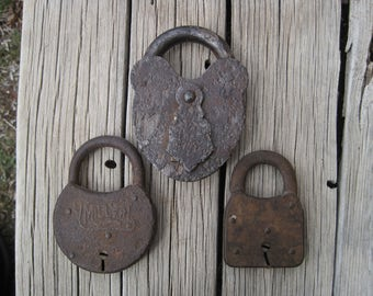 Vintage Padlock Collection, 3 Funky Padlocks, Rustic Padlocks, Antique Padlocks Collection, Steampunk, Rustic Country Wedding Decor