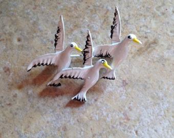 Enamel Seagull Brooch