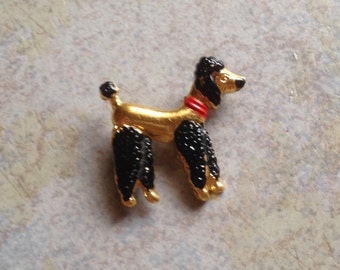 Small Black Poodle Brooch with Red Collar