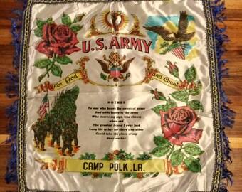 Souvenir Pillow Sham, U S Army, Camp Polk LA, Mother