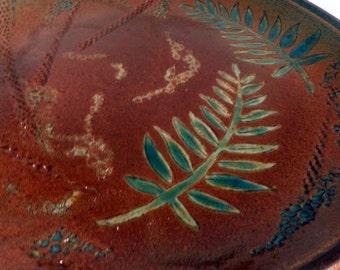 large round handmade Stoneware Serving PLATTER, Botanical design