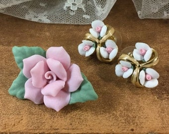 Romantic Bisque Demi Parure Brooch and Earrings Pierced Pink and White Roses Goldtone Setting Gold Tone