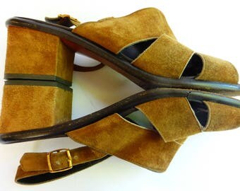 VTG 1970s Suede Sandals SZ 8 Amalfi Made in Italy Chunky Heel