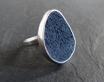 Sterling silver and navy blue concrete ring / size 6.25 / statement ring / modern ring / concrete jewelry / unique ring / minimalist ring