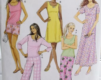 Easy Misses' Summer Pajamas Butterick B5432 Sleepwear Sewing Pattern Nightgown, Elastic Waist Pyjama Pants and Shorts, PJ Top Size 4  - 14