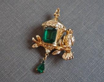 Vintage Coro Brooch Bird with Emerald Lantern