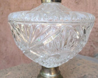 Vintage Clear Crystal Glass Lidded Footed Pedestal Bowl Candy Dish with Brass Knob