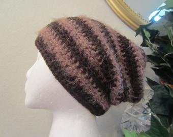 Dark Chocolate With Fuzzy Light Brown Crochet Beanie Slouchy Hat