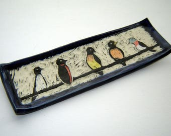 Birds on a Wire Plate – Trinket Dish – Valet Tray – Animal Art – Serving Dish - Sgraffito Pottery - Goldhawk Pottery