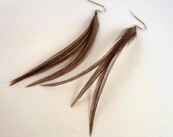 Slate Gray feather earrings Short