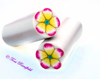 Yellow and Magenta Flower Polymer Clay Cane, Raw polymer Clay Cane, Millefiori Polymer Clay