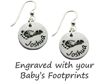 Your Baby's Footprints Earrings - Sterling Silver
