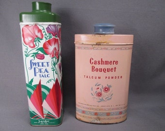 Vintage Lander 'Sweet Pea' and Colgate 'Cashmere Bouquet' Talcum Powder Tins - Both Full