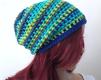 Striped Slouchy Beanie in Teal, Aqua, Lime Green, Royal Blue, Light Blue - All Season Hat - Indie, Boho - Women Girls Teen  - Ready to Ship