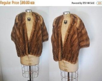 25% OFF 1950s Genuine MINK Fur Stole Cape / brown shawl