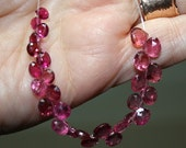 Bright  Pink  Watermelon Gem  Tourmaline Faceted Hear Briolette Drop Beads 4 inch strand 28 beads