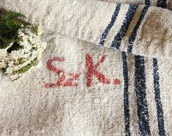 PB 705 antique DEEP BLUE grain sack; 리넨;  upholstery fabric 42.52 long french lin wedding tablerunner grainsack