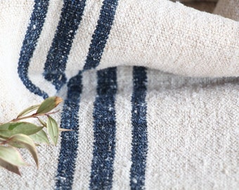 B 811 : grain sack, antique linen;리넨 ; DEEP SEE BLUE;  pillow benchcushion;  wedding decoration; yachting pillow, ; gift bag 44.09 long