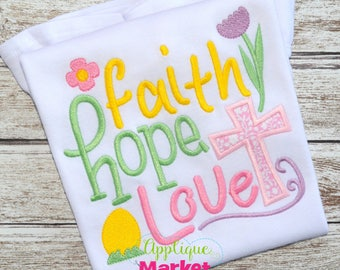 Machine Embroidery Design Embroidery Faith, Hope, Love Applique INSTANT DOWNLOAD
