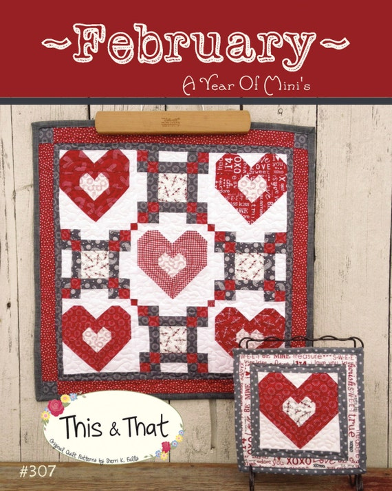 Year of Mini February mini Quilt Pattern Download