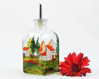 Tuscany oil bottle - Small hand painted glass dispenser for oil, vinegar, soap or detergent - Village Provencal collection
