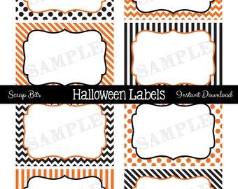 Instant Download . Printable Halloween Food Labels, Printable Halloween Tags, Printable Halloween Labels