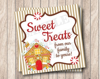 Instant Download Christmas Gingerbread House Tag, Printable Christmas Tags, Sweet Treats Tags, Gingerbread Christmas Labels