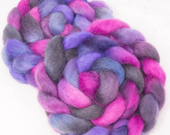 Hand painted Spinning wool, Masham, hand painted roving, fibre for felting, hand dyed fibre  felting fiber, Colour ; African Violet