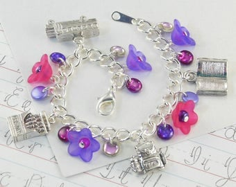 First Day of Kindergarten Charm Bracelet for Girls in purples and pinks   --  Ava  --