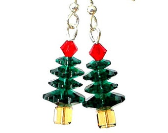 Swarovski crystal Christmas tree earrings, little holiday trees, red and green stocking stuffer under 25 dollars, gift for her