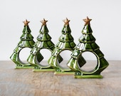 Christmas tree napkin rings, four green vintage ceramic trees with gold stars