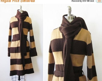 SALE vintage brown striped cardigan, 80s long wrap sweater, belted knit sweater with scarf