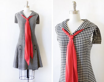 60s houndstooth dress, vintage 1960s mod wool dress, black and white sailor dress with red ascot bow, small medium sm