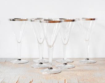 mid century silver rim cocktail glasses, vintage 60s Dorothy Thorpe style glasses, 1960s stem glasses