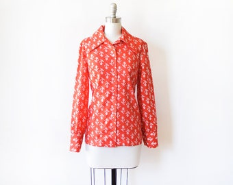 vintage anchor blouse, 70s red and white sailor shirt, 1970s nautical disco shirt, medium large ml
