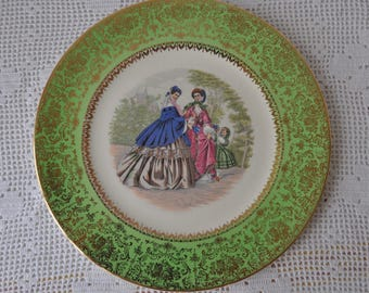 Vintage Victoriana Decorative China Plate/Mid Century/Victorian Fashion Serving Plate/Birthday Tea Party Cake Plate
