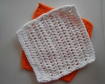 Crochet Cotton Dish Clothes Set of Two Orange and White