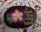 Hand Painted Idaho River Rock-Hymn-Inspirational-Pink Daisy-I Need Thee Every Hour-Acrylic Original-Paper weight-shelf sitter-