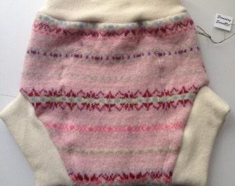 Wool Diaper Cover -  Recycled Pink Patterned Wool and Interlock Wool Diaper Soaker - Extra-Large