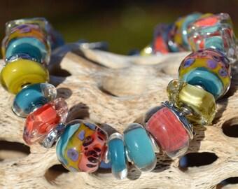 FREE FALLING-Handmade Lampwork & Sterling Silver Bracelet