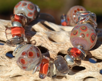 Reserve for Patrice- A STONE'S THROW-Handmade Lampwork and Sterling Silver Bracelet