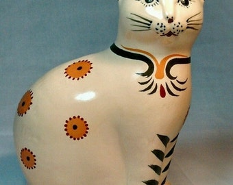 2 DAY SALE Folk art cat figurine Kitten  candle holder with Candle