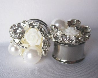 "Pair of Plugs with Ivory Flowers, Rhinestones, and Pearls - Bridal Gauges - Formal Prom - 5/8"", 3/4"", 7/8"" (16mm, 19mm, 22mm)"