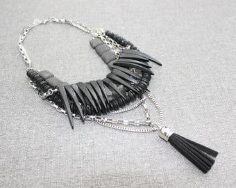 bijoux mode, collier court, bijoux fantaisie, cadeau, short necklace, collier noir, mode jewelry, collier ajustable, funky, original, noir