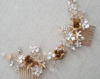 Gold  Wedding Headpiece, Bridal Hair Accessory, Gold Crystal Comb