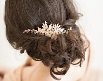 Gold Bridal Comb, Gold Crystal Wedding Hair Comb, Wedding Hair Comb