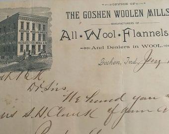 Antique Letterhead for The Goshen WOOLEN MILLS CO.  Goshen, Indiana 1887' -- Free Shipping